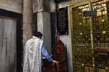A Jewish Settler Prays In The Cave Of The Patriarchs In Hebron, West Bank