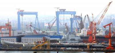 China's aircraft carrier sits in dry dock in Dalian