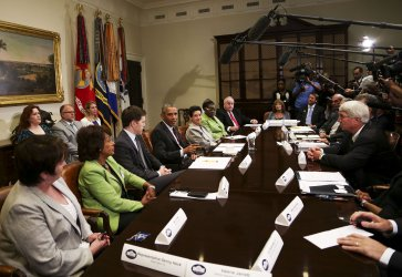 US President Barack Obama meets with small business owners
