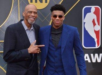Kareem Abdul Jabbar and Giannis Antetokounmpo attend the 2019 NBA Awards in Santa, Monica, California