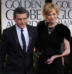Antonio Banderas and Melanie Griffith arrive at the 69th annual Golden Globe Awards in Beverly Hills, California