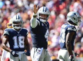 Cowboys quarterback Dak Prescott celebrates against the Redskins
