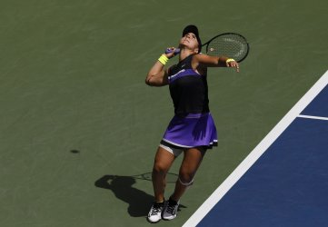 Bianca Andreescu of Canada serves at the US Open
