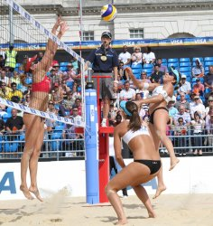 USA Beach Volleyball Team in action against Brazil.