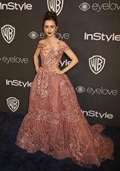 Lily Collins attends the InStyle and Warner Bros. Golden Globe after-party in Beverly Hills