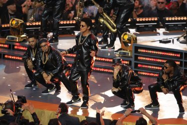 Bruno Mars performs during the Super Bowl 50 half time show