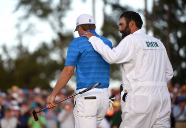 Jordan Spieth and Caddie Michael Greller at the Masters