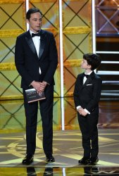 Jim Parsons and Iain Armitage onstage at the 69th annual Primetime Emmy Awards in Los Angeles
