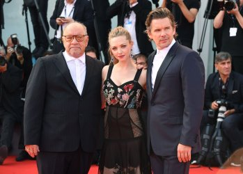 Paul Schrader, Ethan Hawke and Amanda Seyfried attend the premiere of First Reformed at the 74th Venice Film Festival