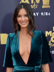 Olivia Munn attends the 2018 MTV Movie & TV Awards in Santa Monica, California