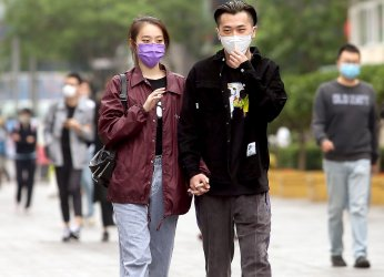 Chinese Continue Wearing Protective Face Masks Outside in Beijing, China