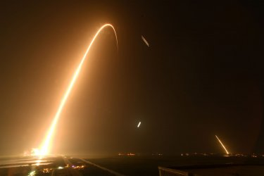 SpaceX Falcon Heavy rocket launches STP-2 from the Kennedy Space Center