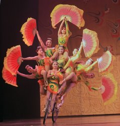 Chinese perform in an acrobatic show in Beijing
