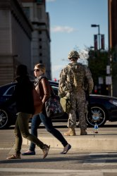 National Guard troops guard the city of Baltimore
