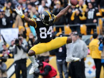 Steeler's Brown celebrates touchdown against Browns