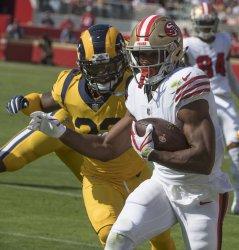 49ers Raheem Mostert runs against Rams
