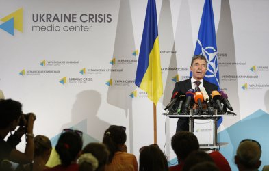 NATO Secretary General Anders Fogh Rasmussen speaks during a news conference