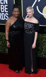 Tarana Burke and Michelle Williams attend the 75th annual Golden Globe Awards in Beverly Hills