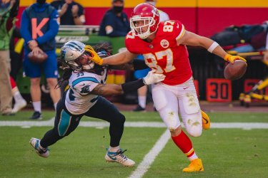 Chiefs Travis Kelce Pushes off Panthers Tre Boston (33)