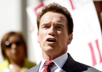 California Governor Arnold Schwarzenegger signs the state budget