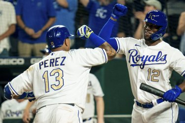Royals Salvador Perez Celebrates with Jorge Soler After Hitting a Solo Home Run