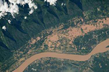 The flooded Mekong River valley on the border between Thailand and Laos