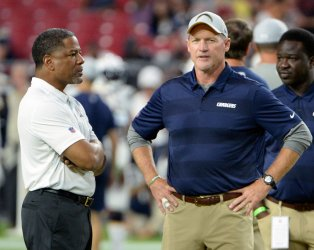 Cardinals Wilks and Chargers Whisenhunt talk before game