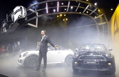 MINI Roadster Introduced by BMW Board's Robertson at the 2012 NAIAS in Detroit.