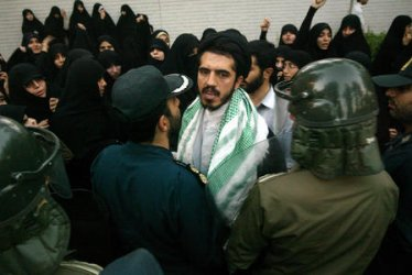 IRANIAN STUDENTS PROTEST OUTSIDE THE BRITISH EMBASSY IN TEHRAN