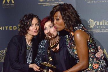 Sara Gilbert, Sharon Osbourne and Aisha Tyler attend the 44th Annual Daytime Emmy Awards