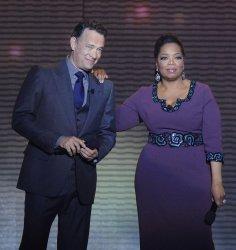 Oprah and Tom Hanks talks in Chicago