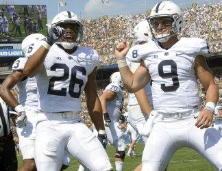 Penn State Saquon Barkley Celebrates TD in Pittsburgh