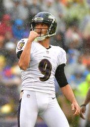 Ravens kicker Justin Tucker celebrates