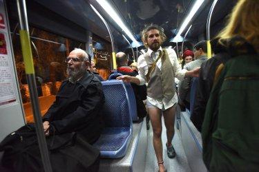 An Israeli  Rides The Jerusalem Light Rail Without Pants on No Pants Subway Ride