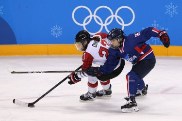 The joint North and South Korean Women's Ice Hockey Team Plays Against Japan At The 2018 Pyeongchang Winter Olympics