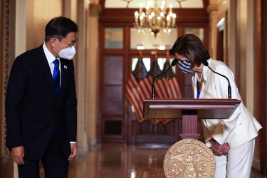 Pelosi Meets With Korean President Moon Jae-in