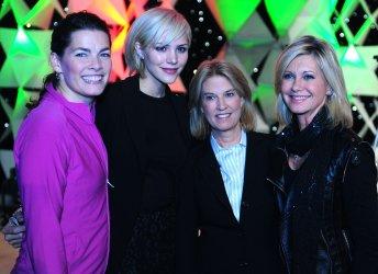 Nancy Kerrigan, Katharine McPhee, Greta Van Susteren and Olivia Newton-John pose for a photo at Kaleidoscope in Washington