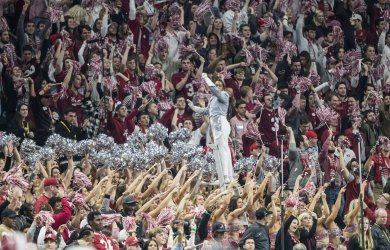 The Alabama Crimson Tide band plays in the National Championship
