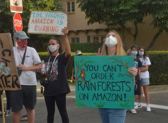 Protesters Demonstrate Outside Jeff Bezo's Beverly Hills Mansion