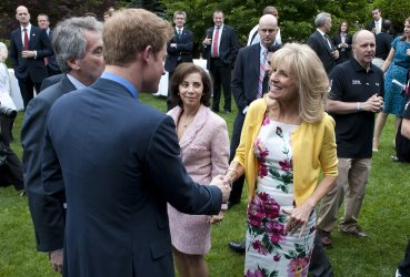 Prince Harry plants a tree in honor of U.S. and British Wounded Warriors in Washington