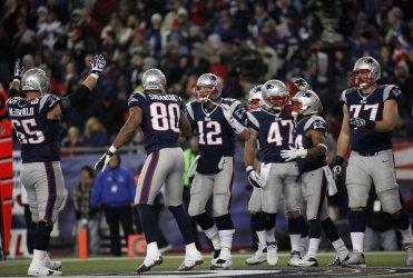 Patriots celebrate TD against Colts at Gillette Stadium in Foxboro, MA