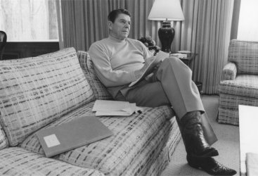 President Reagan Works on His State of the Union Address