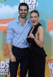 Nyle DiMarco and dancer Peta Murgatroyd attend the Kid's Choice Awards in Inglewood, California