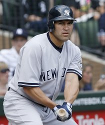 New York Yankees' Johnny Damon gets ready to bat against the Chicago White Sox; batter
