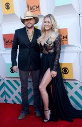 Jason Aldean and Brittany Kerr attend the 51st  annual Academy of Country Music Awards in Las Vegas
