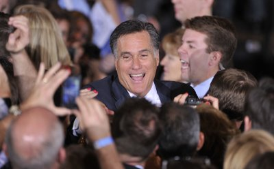 Romney Shakes Hands at Election Night Party in Schaumburg, Illinois