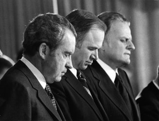President Nixon at the 1973 National Prayer Breakfast with Billy Graham