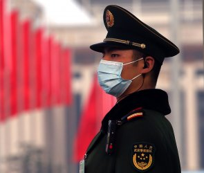 Chinese Soldier Stands Guard at the NPC in Beijing, China