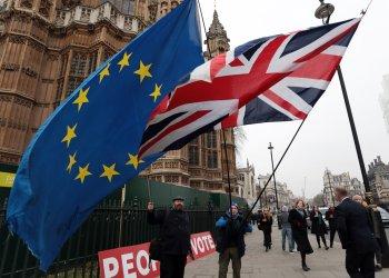 Brexit Protestors campaign at Houses of Parliament