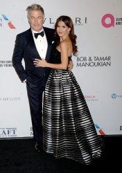 Alec and Hilaria Baldwin arrive at the Elton John AIDS Foundation